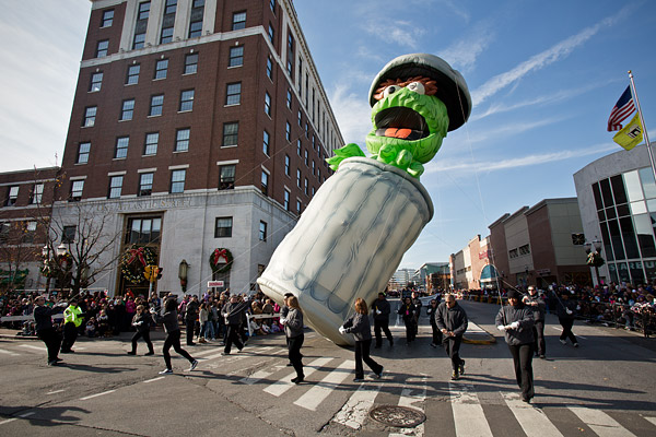 Oscar the Grouch makes his way through downtown Stamford, Connecticut at the annual UBS Parade Spectacular.