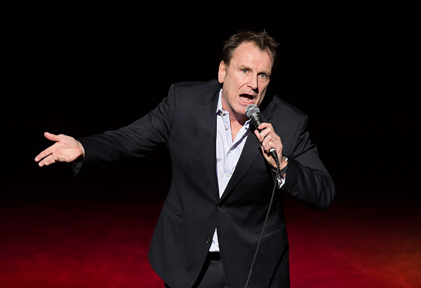 Comedian Colin Quinn performs in a benefit show for victims of Hurricane Sandy