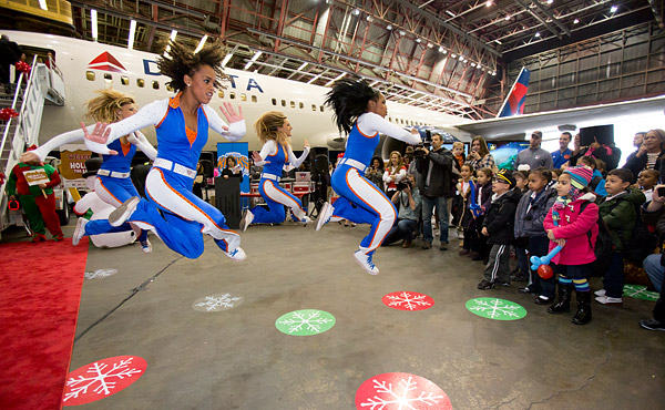 The Knicks City Dancers perform at the Garden of Dreams and Delta Holiday in the Hangar event