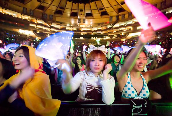 Fans of Japanese rock band L'Arc-en-Ciel at Madison Square Garden