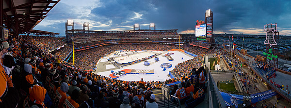 Nearly 47,000 hockey fans pack Citizens Bank Park in Philadelphia for the 2012 NHL Winter Classic, a 3-2 New York Rangers win over the Flyers