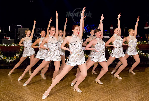The Radio City Rockettes perform at the 12th Annual Holiday Rock and Roll Bash, a benefit for the Lustgarten Foundation for pancreatic research, at the Hard Rock Cafe in New York City's Times Square.
