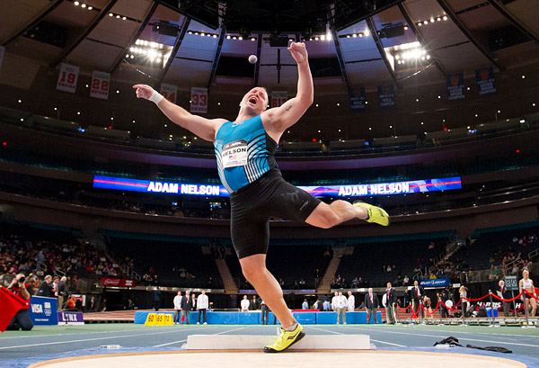 Adam Nelson, the Madison Square Garden all-time record holder in the shot put, throws in the venue's inaugural U.S. Open Track and Field event