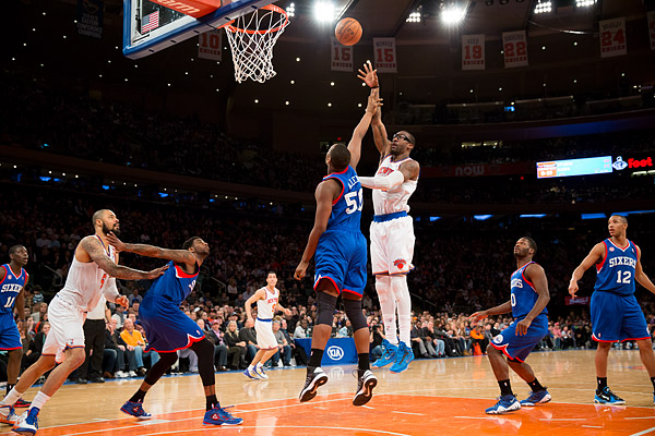 The New York Knicks' Amar'e Stoudemire puts up 2 of his 22 points in a 99-93 win over the Philadelphia 76ers at Madison Square Garden