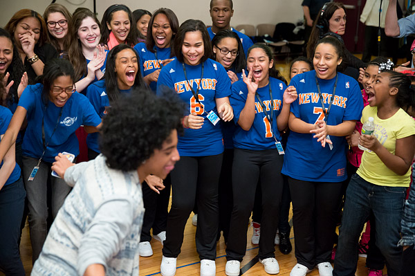 Girls show their enthusiasm for boy band Mindless Behavior, who made a surprise appearance at a Garden of Dreams Foundation Talent Show rehearsal at Radio City Music Hall.