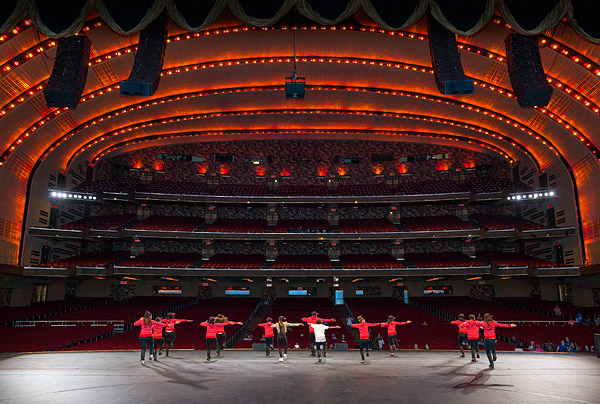 Dancers rehearse on stage a week before the Garden of Dreams Talent Show at Radio City Music Hall