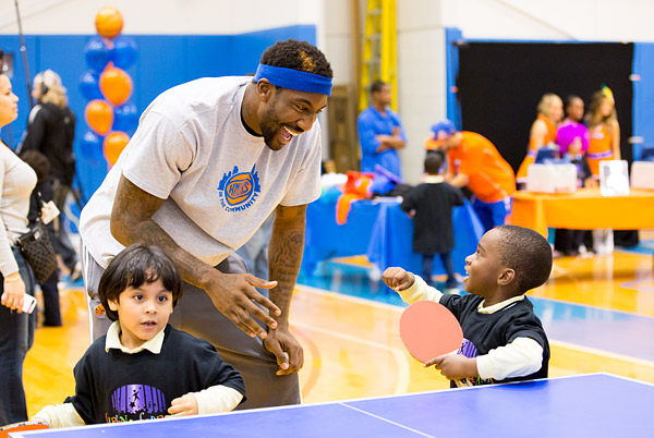 New York Knicks player Amare Stoudemire hangs out with kids the Garden of Dreams Foundation's 2013-2014 Knicks season kickoff event