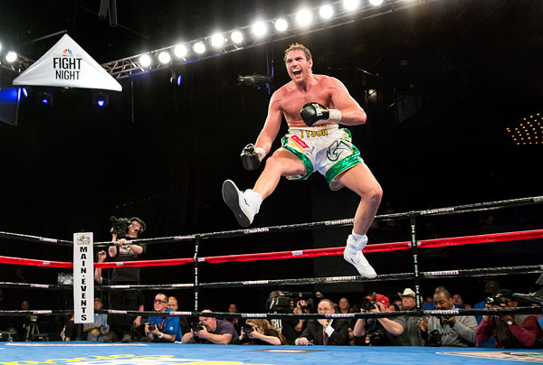 Boxer Tyson Fury celebrates his 7th round knockout of Steve Cunningham at Madison Square Garden.