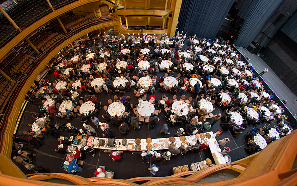 Volunteers feed the hungry on Christmas Day at the iconic Hammerstein Ballroom in New York City.