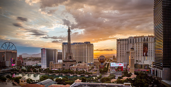 The Las Vegas Strip at sunrise.