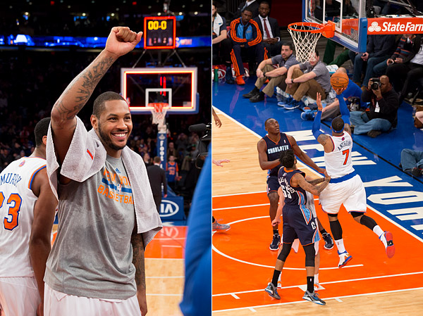 Carmelo Anthony scores his New York Knicks record-breaking 62nd point and celebrates post-game at Madison Square Garden.
