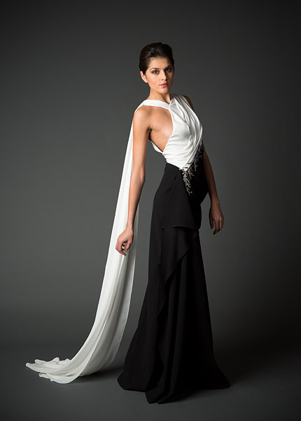 Evening gown from Cristina Ottaviano's Fall/Winter 2014 collection debuting during New York Fashion Week.
