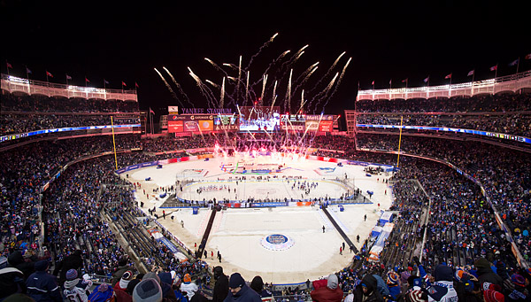 Fireworks erupt at the conclusion of the New York Rangers' 2-1 victory over rival New York Islanders at Yankee Stadium.