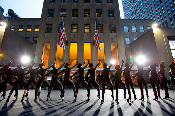 The Radio City Rockettes rehearse for an appearance on NBC's Today Show in New York City's Rockefeller Plaza.