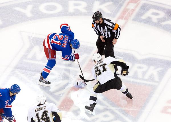 Rangers vs Penguins Playoff hockey, Derek Stepan and Sidney Crosby