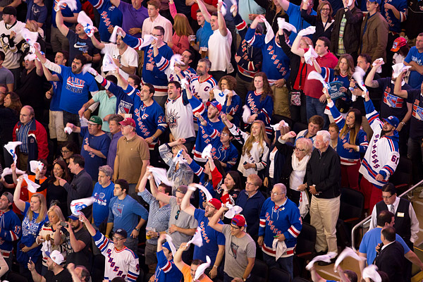 Rangers fans cheer at Madison Square Garden
