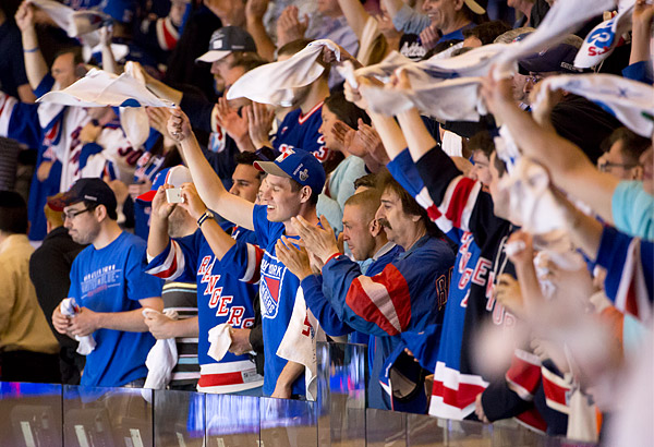 Fans cheer on the Rangers in the 2014 Stanley Cup Playoffs
