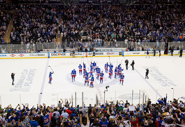Rangers salute their fans in the 2014 Stanley Cup Playoffs