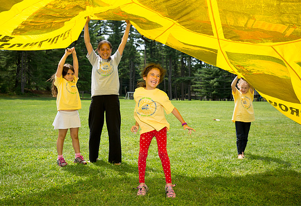 Parachute game at camp