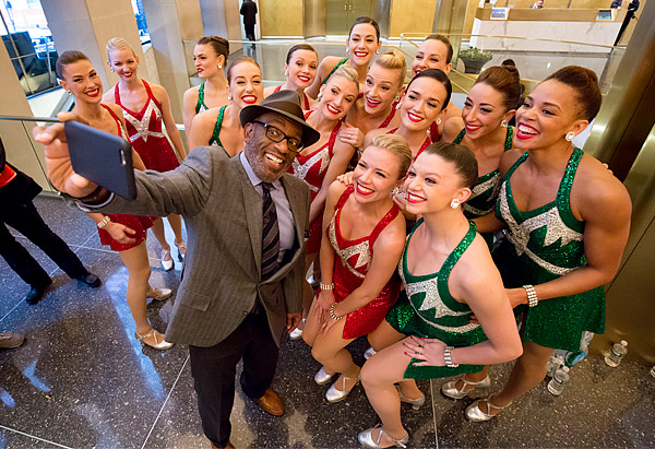 The TODAY show's Al Roker takes a selfie with the Radio City Rockettes shortly before their appearance on the show
