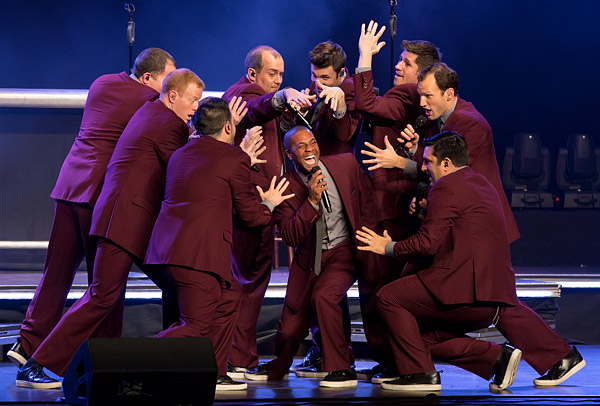 A cappella group Straight No Chaser performs at the Beacon Theatre in New York City.