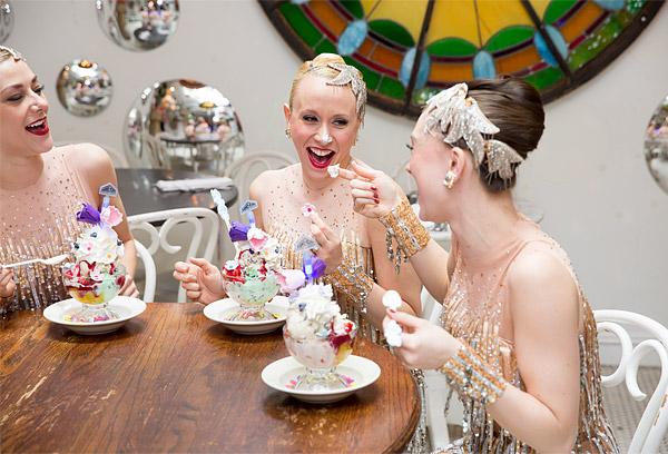 The Radio City Rockettes enjoy the new New York Spring Spectacular Sundae at Serendipity 3 in Manhattan