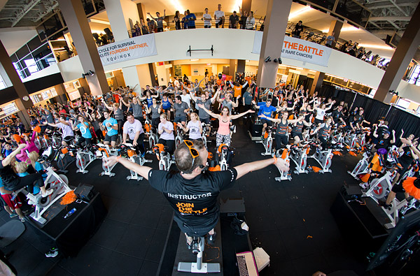 Cyclists raise money for rare cancer research at a Cycle for Survival ride at Equinox in Bethesda, Maryland