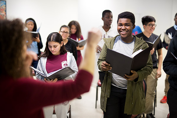 Teens rehearse at Highbridge Voices, an after-school music and academic nonprofit program in the Bronx